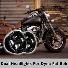 4.65 inch 80W Dual LED Bullet Headlights For HD Dyna Fat Bob