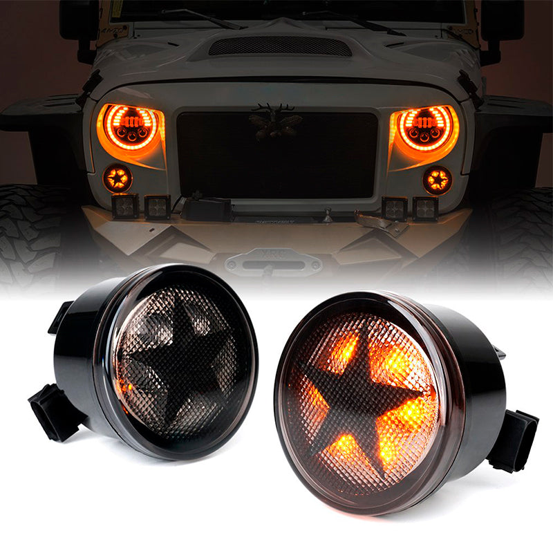 G2 LED Amber Turn Signal Light Smoke with Star for 07-18 Jeep Wrangler