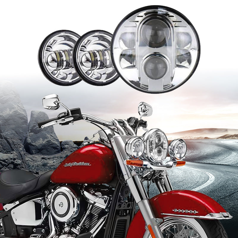 "7"" inch Round LED Headlight & Spot 4.5"" Fog Passing Combo"