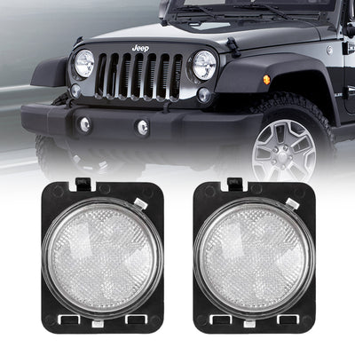 Front Fender Amber Turn Signal Lights For Jeep Wrangler - Smoked/Clear