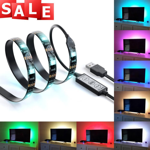 LED Home Theater TV BackLight Accent RGB Multi-Color-Changing Strip Lighting Kit - LED Factory Mart - 1