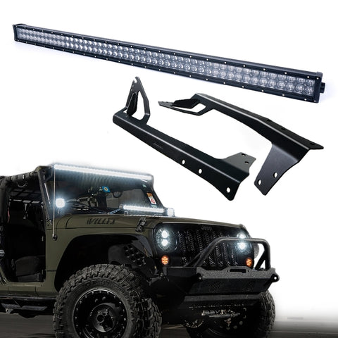 USA ONLY Super Nova 5D 300W 52 Inch LED Work Light Bar & Windshield Mounting Bracket Kit