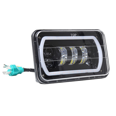 4x6 inch LED Headlights Hi-Lo Beam With RGB Angle Eyes For Offroad, Trucks, Ford - LED Factory Mart