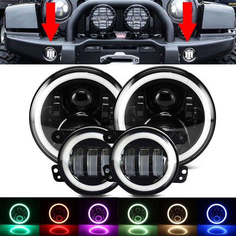 "7"" RGB LED Headlights with 4"" LED Fog Light and Halo Angel Eyes"