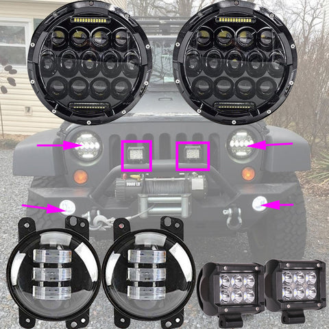 7 inch CREE LED Headlight+4inch 30W LED Fog Light+18W Spot LED Work Light For Jeep Wrangler - LED Factory Mart - 1