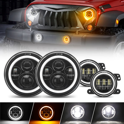 JK LED Halo Headlights and Fog Lights