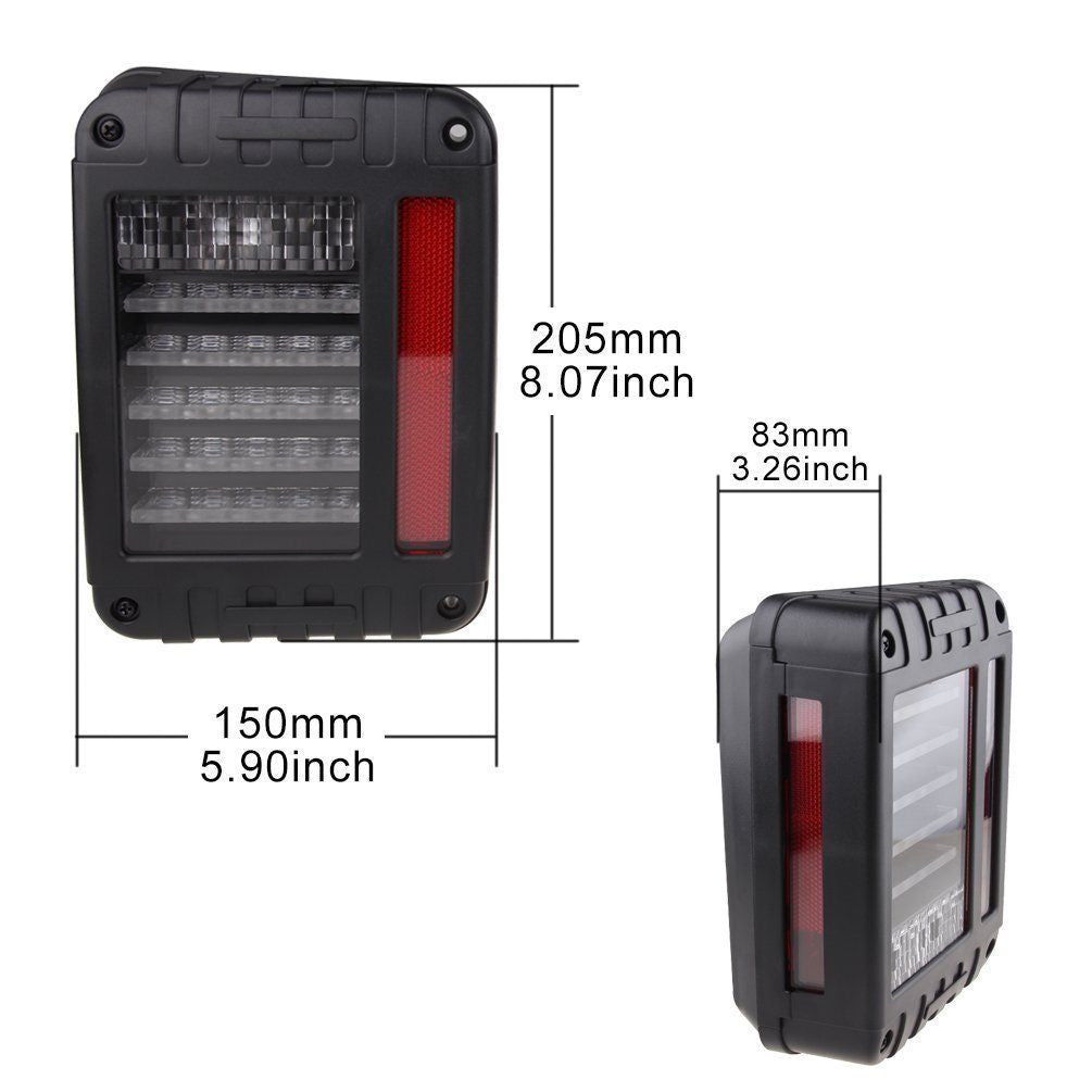 LED Tail Brake Light & Turn Signal Lights & Fender Side Light for 07-16 Jeep JK - LED Factory Mart