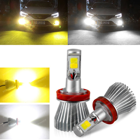 White&Yellow Color Driving Lamps H7 H11 9005 9006 Car LED COB Fog Lights
