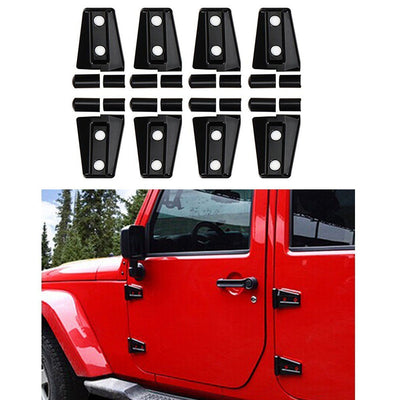Black/Red ABS Side Door Hood Hinge Trim Cover Kit For Jeep Wrangler 4 Door 07-15 - LED Factory Mart - 1
