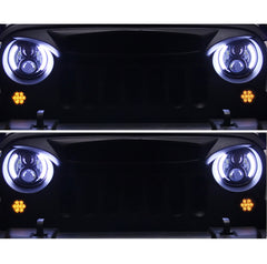 7 Inch LED Headlight For Jeep Wrangler White/Yellow Halo Angel Eyes 50W