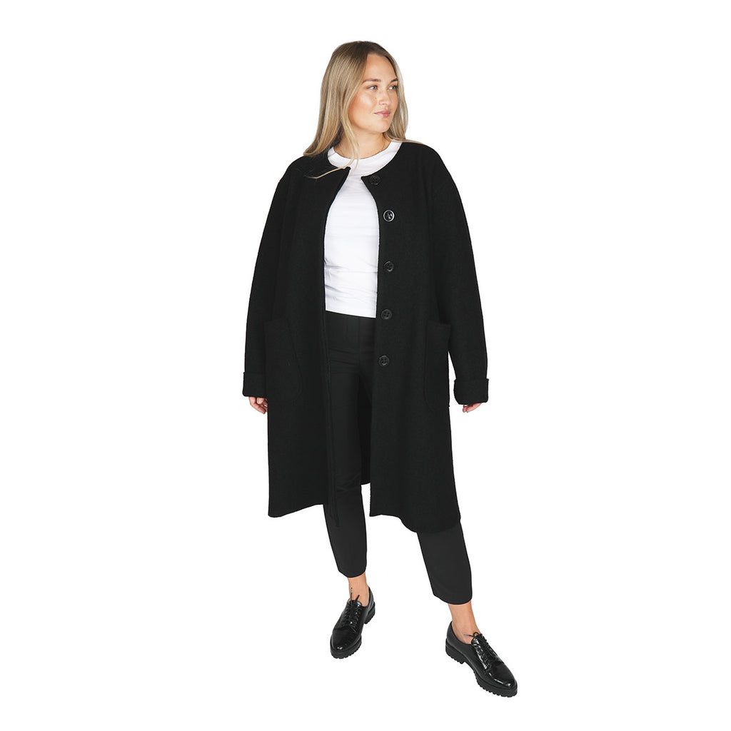 Inkeri boiled wool coat black