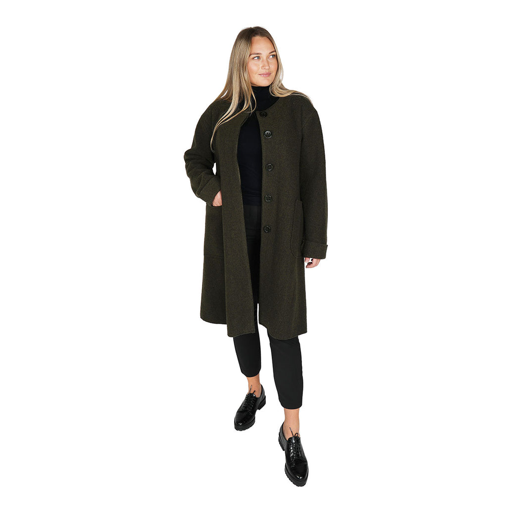 Inkeri boiled wool coat olive