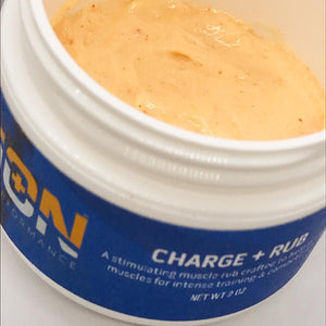 ion charge warmup muscle rub with MCT capsaicin cayenne and shea butter