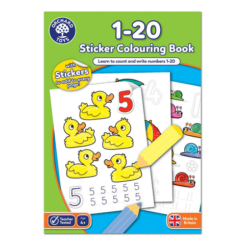 1 - 20 Sticker Colouring Book - educationaltoys.ie