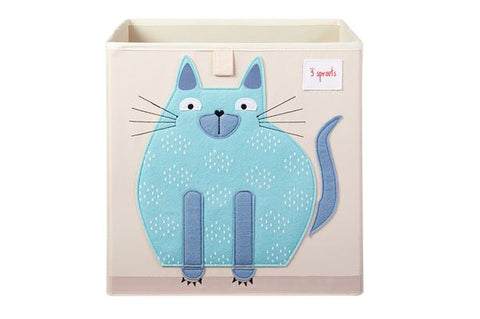 3 Sprouts Storage Box Cat Blue - educationaltoys.ie