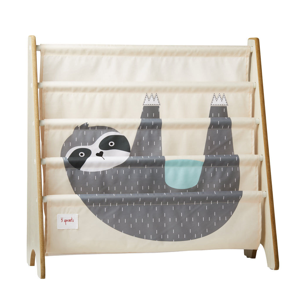 3 Sprouts Book Rack Sloth Grey - educationaltoys.ie