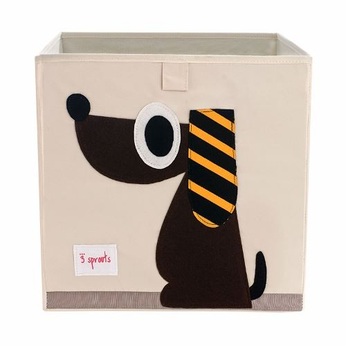 3 Sprouts Storage Box Dog Brown - educationaltoys.ie