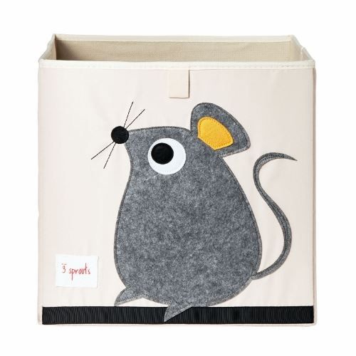 3 Sprouts Storage Box Mouse Grey - educationaltoys.ie