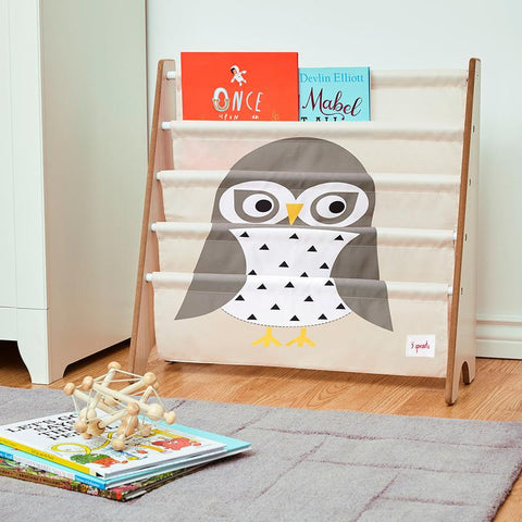 3 Sprouts Book Rack Owl Grey - educationaltoys.ie
