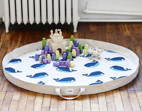 3 Sprouts Playmat Bag Whale Blue - educationaltoys.ie
