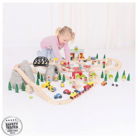 Bigjigs Mountain Wooden Railway Set BJT016 - educationaltoys.ie