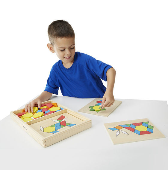 Melissa & Doug Pattern blocks and board - educationaltoys.ie
