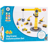 Bigjigs Big Yellow Crane & Construction Set BJT200 -Educationaltoys.ie