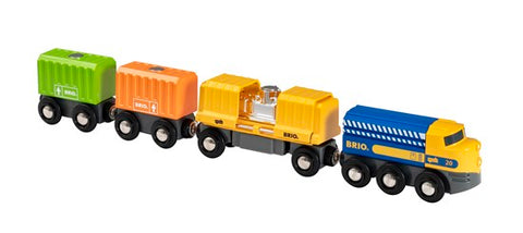 BRIO 33982 Three Wagon Cargo Train - educationaltoys.ie
