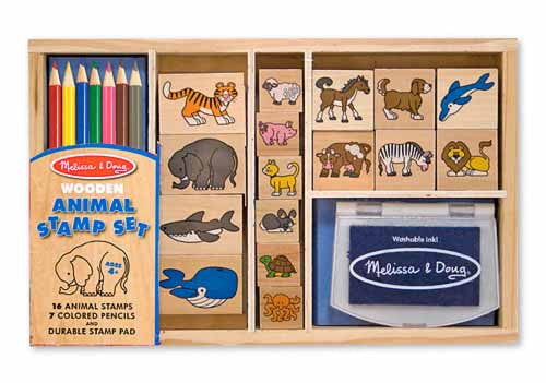 Melissa & Doug Wooden animal stamp set - educationaltoys.ie