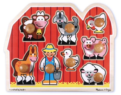 Melissa & Doug Farm Friends Large Peg Puzzle - educationaltoys.ie
