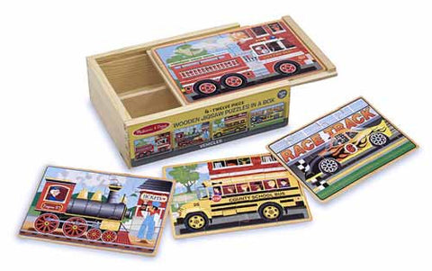 Melissa & Doug 4 Vehicle Puzzles in a Box - Educationaltoys.ie