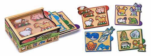 Melissa & Doug Animals Mini-Puzzle Pack - educationaltoys.ie