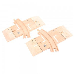 Curved Level Crossing BJT223 - wooden track - educationaltoys.ie