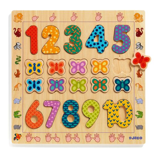Djeco Wooden Puzzle 1-10 - educationaltoys.ie