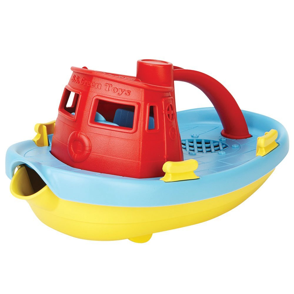 Green Toys Tug Boat Red cabin - educationaltoys.ie
