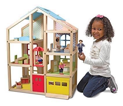 Wooden Hi Rise Dollshouse Melissa & Doug - educationaltoys.ie
