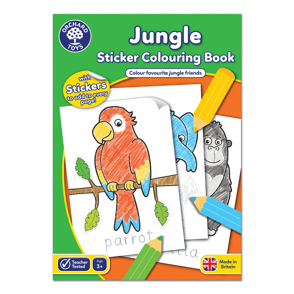 Jungle Sticker Colouring Book - educationaltoys.ie