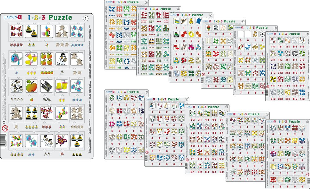 Larsen 123 Puzzle Pack. Set of 12 Special Price - educationaltoys.ie