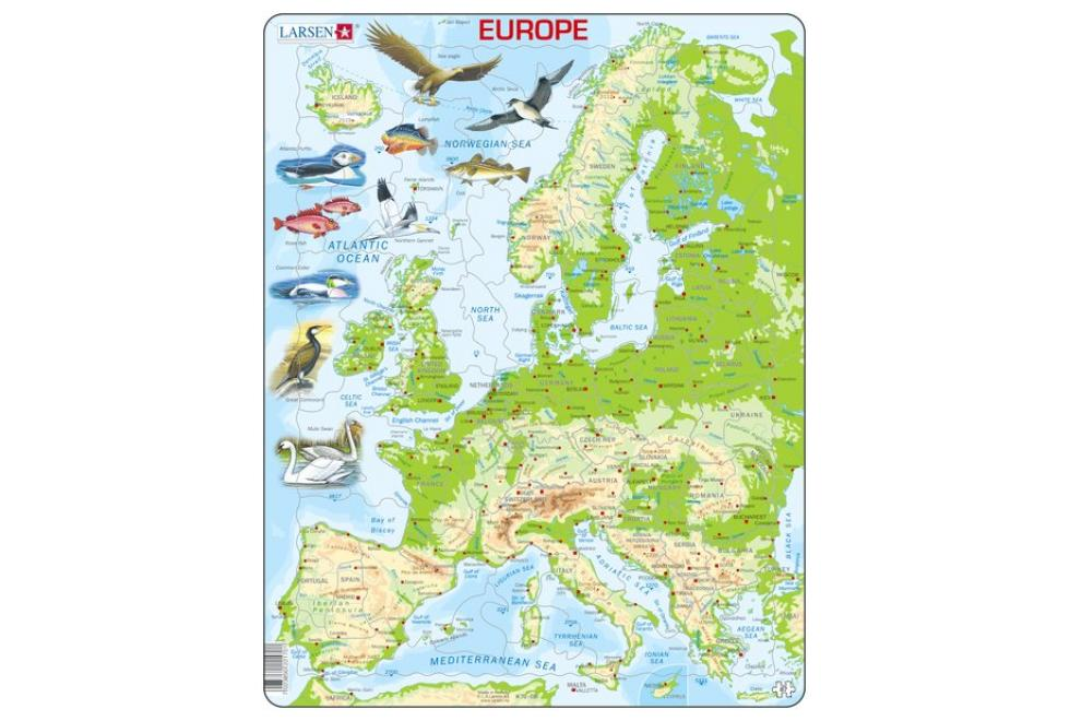 Larsen Europe Physical Map Puzzle 87 pce K70 - educationaltoys.ie