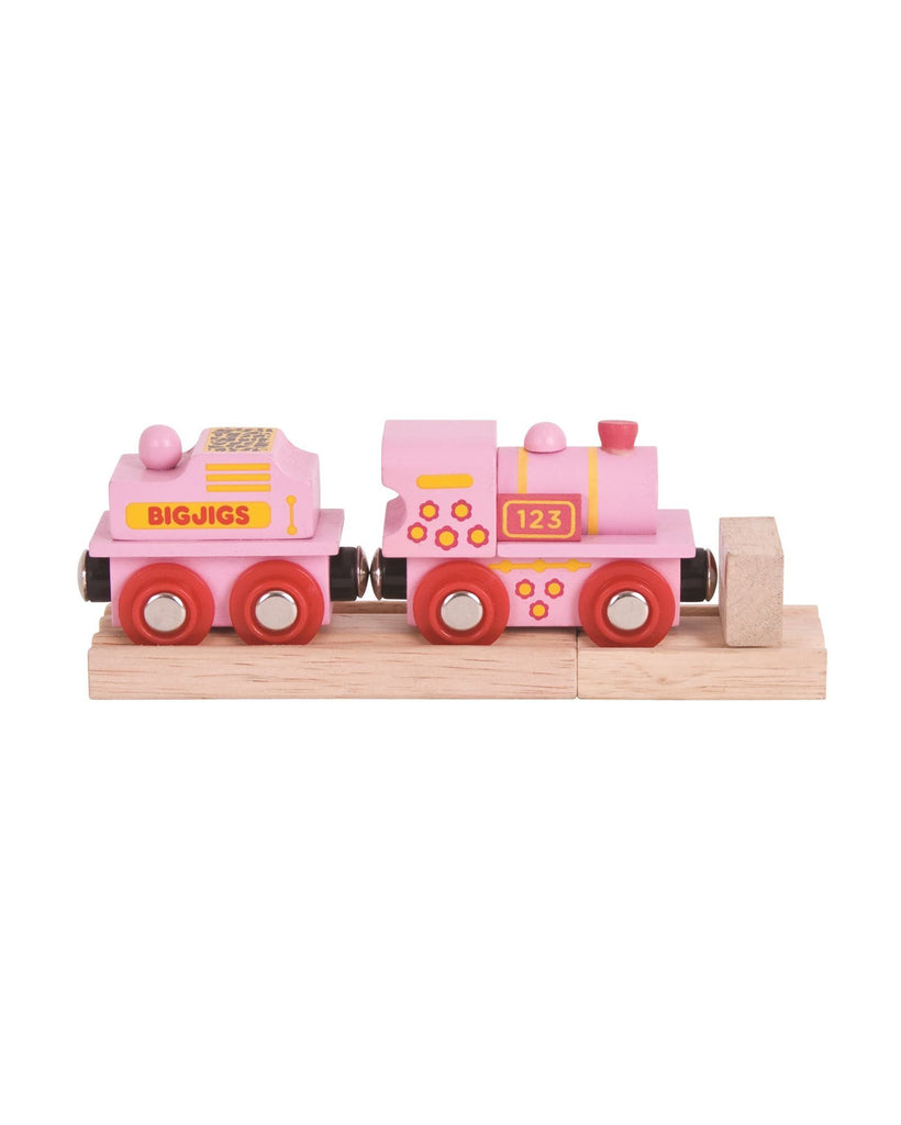 Bigjigs Pink 123 Engine BJT412 - wooden trains - educationaltoys.ie