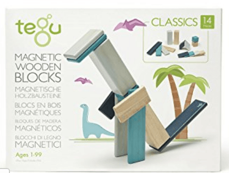 Tegu Blues 14 piece magnetic wooden block set - educationaltoys.ie