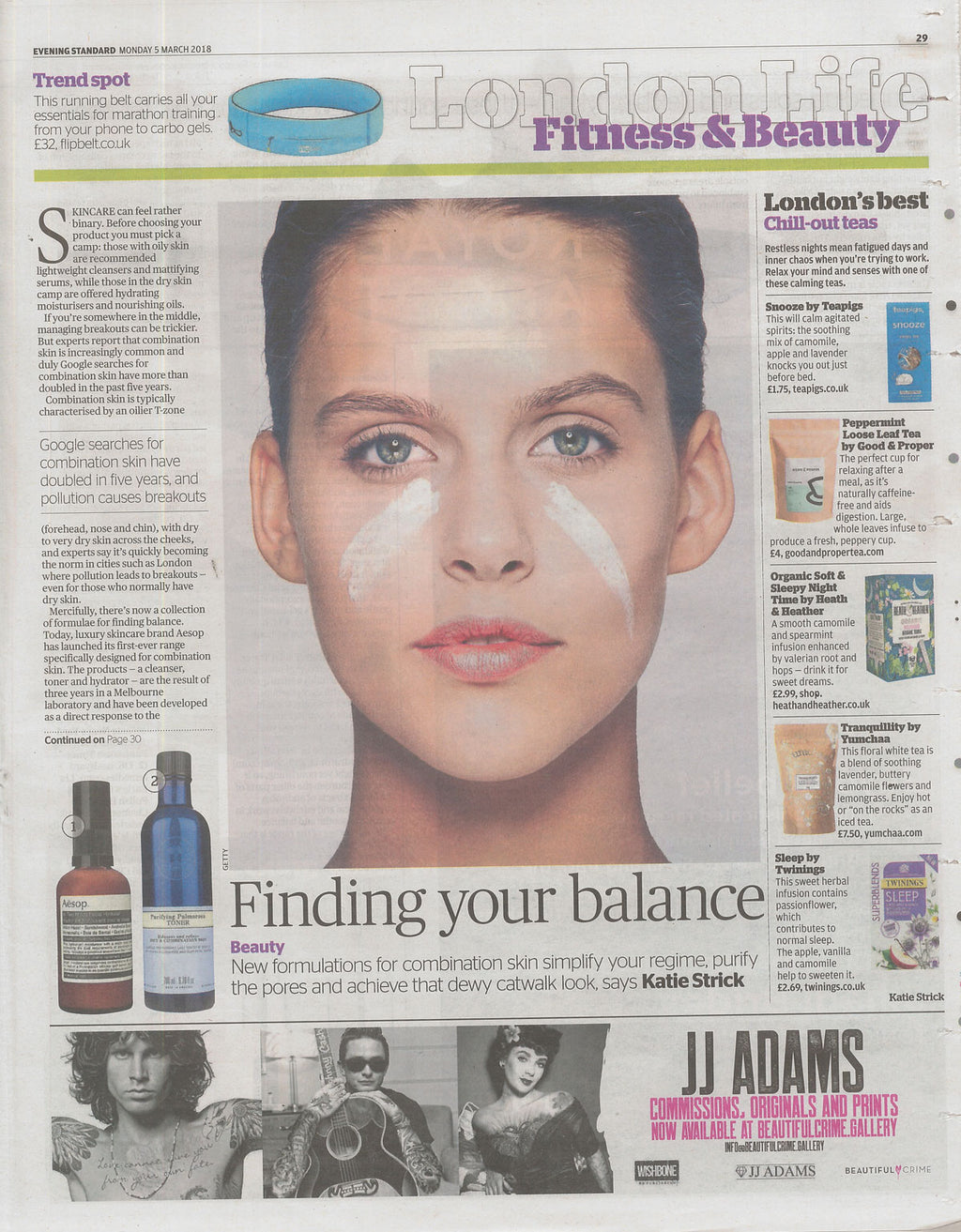 'Finding Your Balance' - Evening Standard - Light + Energy Serum Cleanser / Active Boost Face Oil