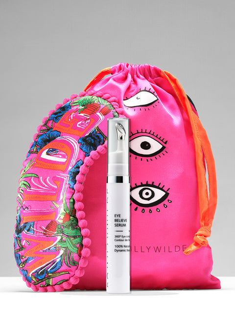 Wilde Dreams Silk Eye Mask, Drawstring Bag & Eye Believe Eye Serum