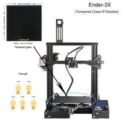 CREALITY 3D Printer Ender-3/Ender-3X Upgraded Tempered Glass Optional,V-slot Resume Power Failure Printing DIY KIT Hotbed