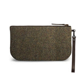 Brown Harris Tweed Small Wristlet Clutch Back Image
