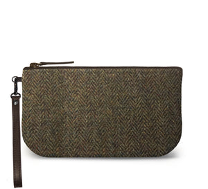 Brown Harris Tweed Small Wristlet Clutch Front Image