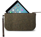 Brown Harris Tweed Small Wristlet Clutch Open Image