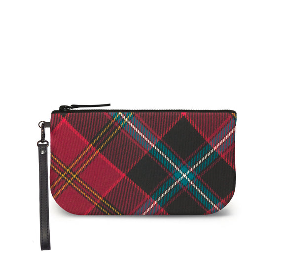 German American Tartan Plaid Small Clutch Front View