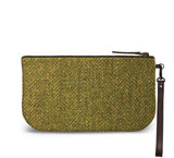 Green Harris Tweed Small Wristlet Clutch Back View