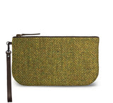 Green Harris Tweed Small Wristlet Clutch Front View